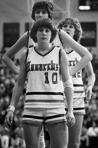 ODU's lineup once had three future Naismith Basketball Hall of Famers, with Nancy Lieberman, front, Anne Donovan, middle, and Inge Nissen, back. Nissen will be inducted into the Hall in 2012.