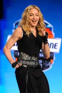 Madonna Face! She also did her best Victor Cruz salsa for the media mob.