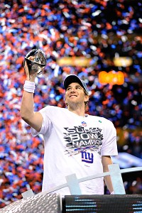 Super Bowl MVP Eli Manning celebrates the Giants' win against the New England Patriots.