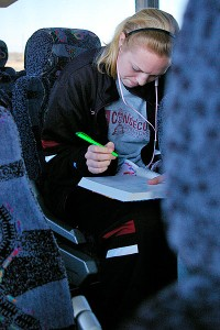Freshman Taylor Greenfield finds the ride a good time to study.