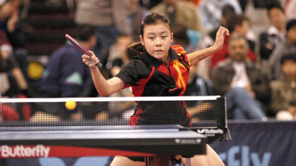 Ariel Hsing is hoping to win one of two spots on the 2012 Olympic team at this week's table tennis Olympic trials. She writes Let go, have fun! on her left forearm during big matches.