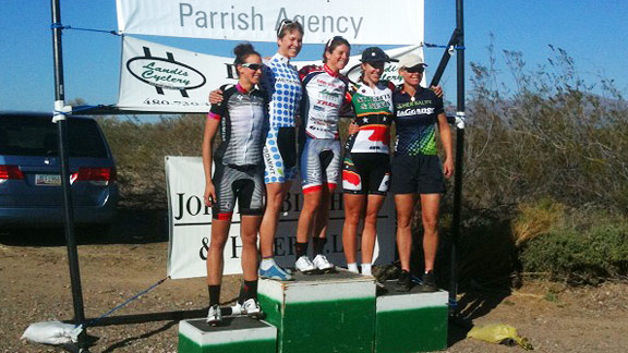 Kathryn Bertine, second from right, had a solid start to the 2012 season, finishing second to U.S. national time trial champion Evelyn Stevens, center, at the Valley of the Sun time trial.