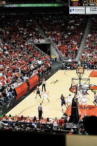 Crowds pack the stunning KFC Yum! Center; Louisville is averaging 10,473 fans per game this year, second only to Tennessee.