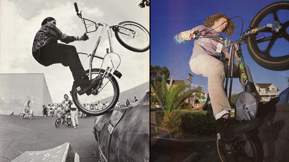 Street riding influential Craig Grasso on Diamond Back (left) and later, on an Ozone in Southern California (right).