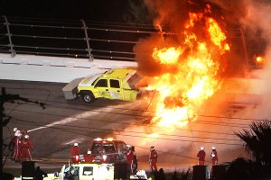 Racing at the 2012 Daytona 500 was stopped for more than two hours after Juan Pablo Montoya slid into a jet dryer, igniting an explosion.
