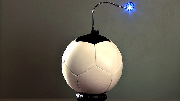 sOccket takes the kinetic energy generated by kicking the ball and exports electricity that can power lamps.