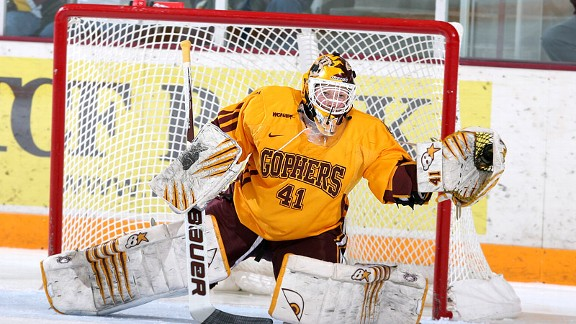Noora Raty's scoreless streak of 246 minutes, 53 seconds ended in Minnesota's 5-1 quarterfinal win over North Dakota.