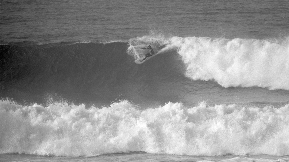 Peterson, on rail during the '76 Bells Beach Easter Classic.