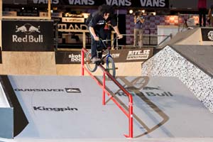 Cult's Alex Kennedy didn't touch the box jump and barely used any quarterpipes, but technical combos on the street obstacles like this crooked grind to 180 on the handrail were enough to land a spot in Sunday's finals.