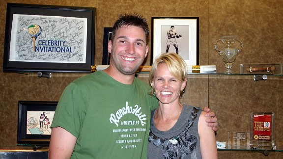 Molly Fletcher, pictured with the Royals' Jeff Francoeur, represents a number of athletes, coaches and broadcasters.