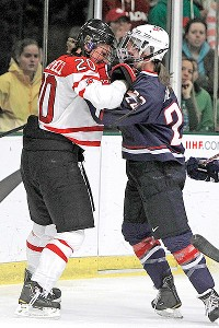 Canada and the United States combined for 18 penalties in Saturday's worlds final.