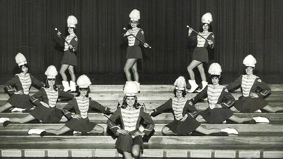 Groff's mother, Jeannine (front and center in the photo), used her twirling talents to help fund her college education.