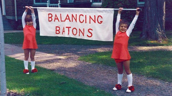 Before she grew up to be a world-class triathlete, Sarah Groff tried her hand at baton twirling -- but she was better suited to holding the banner. (That's her on the right.)