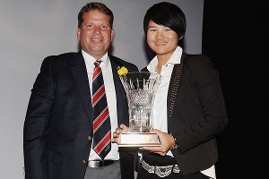 Yani Tseng picked up the 2011 Female Player of the Year award during the GWAA awards dinner held in conjunction with the Masters.
