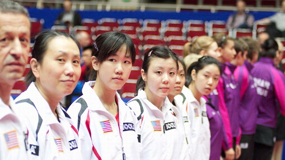 Ariel Hsing, third from the left, with her U.S. teammates, including four-time Olympian Gao Jun.
