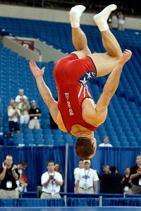 After taking off his shoes -- signaling his retirement from the sport -- Bracken does a backflip during the 2004 U.S. team trials.
