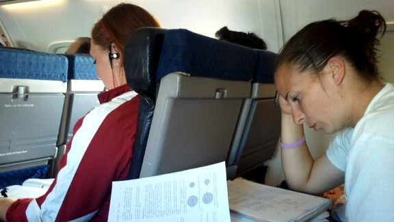 A few of our teammates, Jordan Patterson and Cassie Reilly-Boccia, hit the books during our recent road trip.