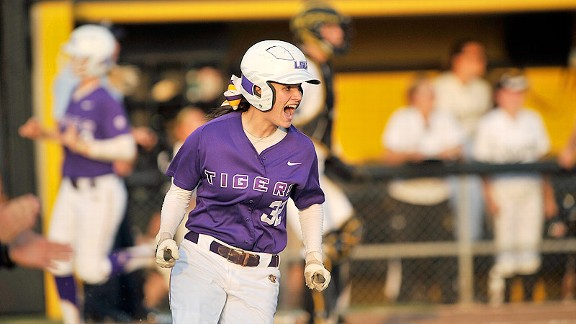 Allison Falcon's bloop single drove in two runs for LSU, which has struggled to score this season.