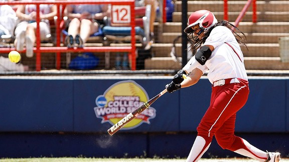 Oklahoma's Lauren Chamberlain homers in the fourth inning during a 5-1 win over South Florida on Thursday.