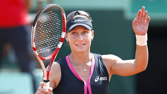 Samantha Stosur used her strength and kick serve to overpower Dominika Cibulkova, 6-4. 6-1.