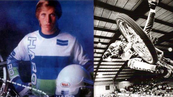 Dennis McCoy in a 1988 Haro ad (left) and in Freestylin's Generation F book (right).