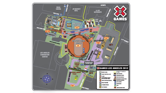 X Games 2012's LA Live and STAPLES Center spectator map. Click a href=http://a.espncdn.com/photo/2012/0614/Map_spread.pdfhere/a to download the large PDF version of this map.