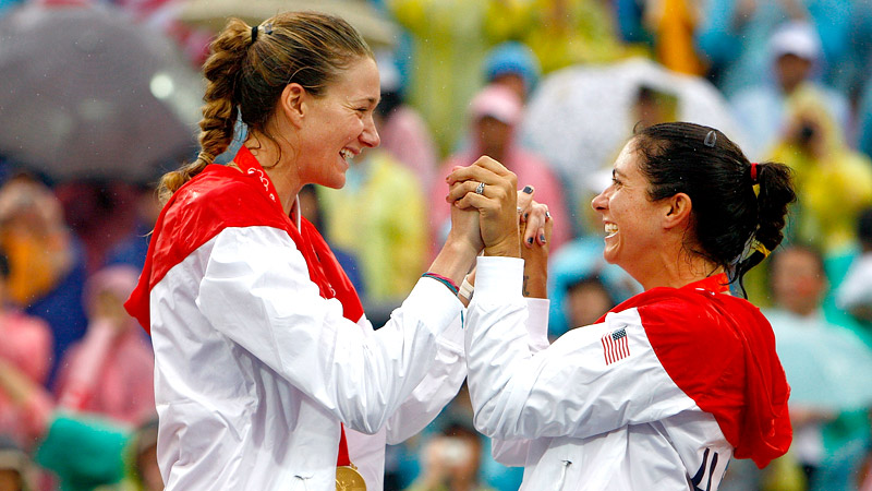 Kerri Walsh Jennings and Misty May-Treanor won three straight Olympic gold medals in beach volleyball (2004, 2008, 2012).