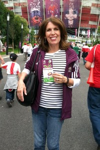 Kate Fagan's mom, Kathy, spent much of the Euro 2012 trip hiding behind her camera. Here she is on the other side, snapped with her ticket to the Italy-Germany match.
