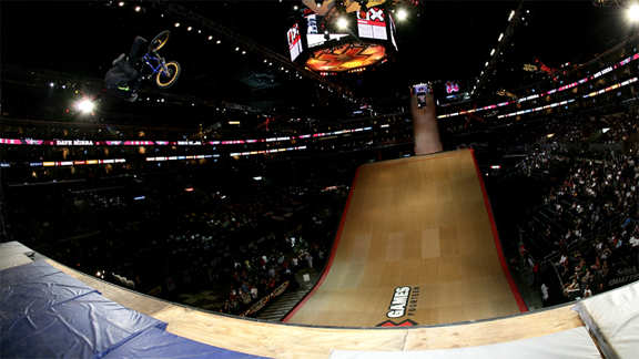 Flair whip during Mirra's last X Games appearance on a BMX bike three years ago.