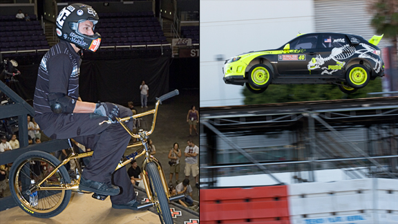Quintessential Dave Mirra on the deck of the X Games vert ramp at X Games 11 (left), and during Rally practice last week at X Games Los Angeles.
