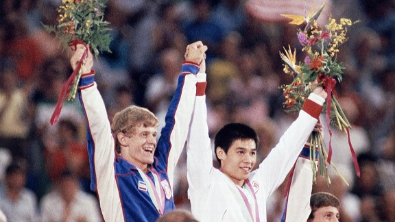 Peter Vidmar and China's Li Ning finished in a tie on pommel horse at the 1984 Games and each went home with a gold medal.