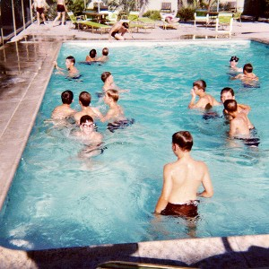 A team swim during the Minnesota Little Gophers' trip to California in the spring of 1978.