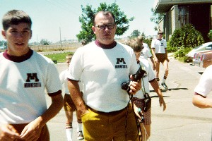 Coach Gary Downing during the Little Gophers' trip to California in August 1978.