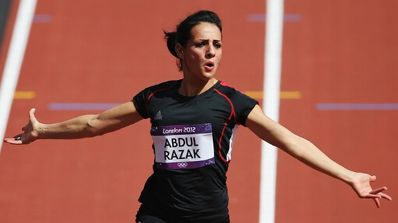 Dana Abdul Razak of Iraq won her first heat Friday but was eliminated in her second.
