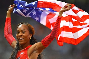 Sanya Richards-Ross celebrates after winning the gold medal in the 400 meters in London.
