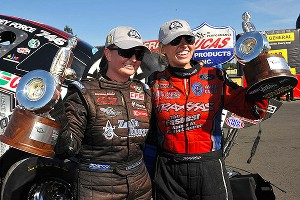 Erica Enders, left, and Courtney Force made it a historic day for women in the NHRA with pro wins at Pacific Raceways near Seattle.