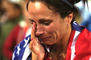 Jenn Suhr couldn't hold back the tears after winning the women's pole vault gold medal.