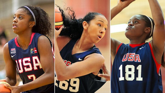 Mercedes Russell (center), Kaela Davis (right) and Diamond DeShields teamed up for USA Basketball over the summer, but they'll be going their separate ways after signing their national letters of intent during the early signing period.