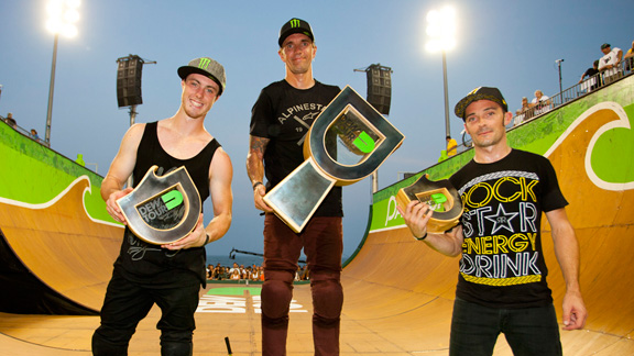 BMX vert podium at the Dew Tour Pantech Beach Championships in Md. From left to right: Vince Byron (second), Jamie Bestwick (first) and Simon Tabron (third).