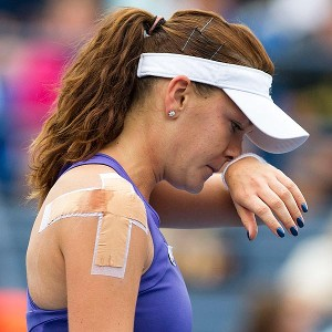 Agnieszka Radwanska of Poland found the going tough in her upset loss to Italy's Roberta Vinci.