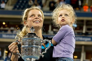 Kim Clijsters celebrates with daughter Jada Lynch after winning the U.S. Open in 2010.