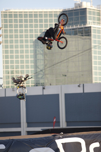 Steve McCann, mid no-handed double frontflip at X Games LA.