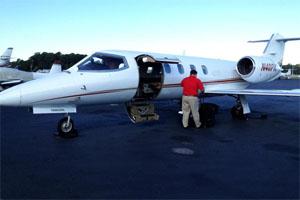 Brett's private jet, destined for Atlanta, Ga.