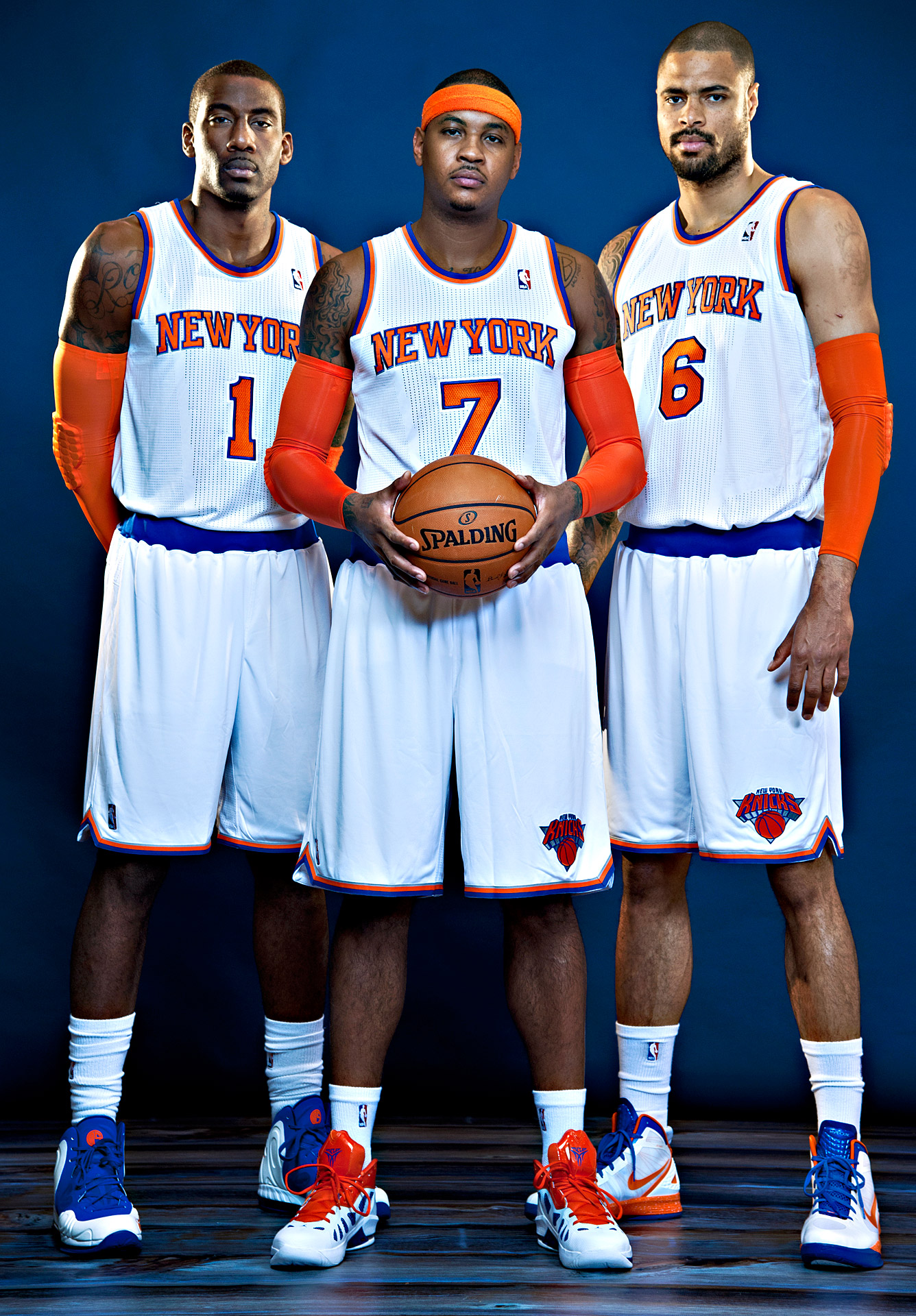 Amar'e Stoudemire, Carmelo Anthony and Tyson Chandler
