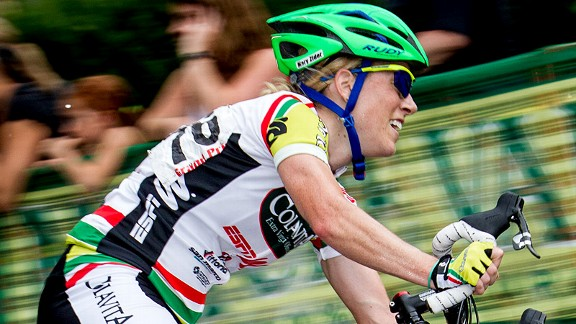 Mary Zider, who rides for Team Colavita, works from home for Eastern Mountain Sports. Without a commute, she has enough time left over to get in her training.
