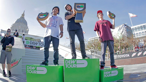 BMX street podium from left to right: Chad Kerley, Garrett Reynolds and Bruno Hoffmann.