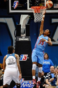 Angel McCoughtry makes a play at the rim in the 2011 WNBA Finals.