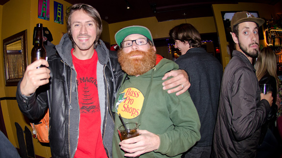 Slap's Editor-in-Chief Mike Hubert, Freddy of Strange Bird Distributon and Justin Carlson (Think Team Manger) lurking in the background.