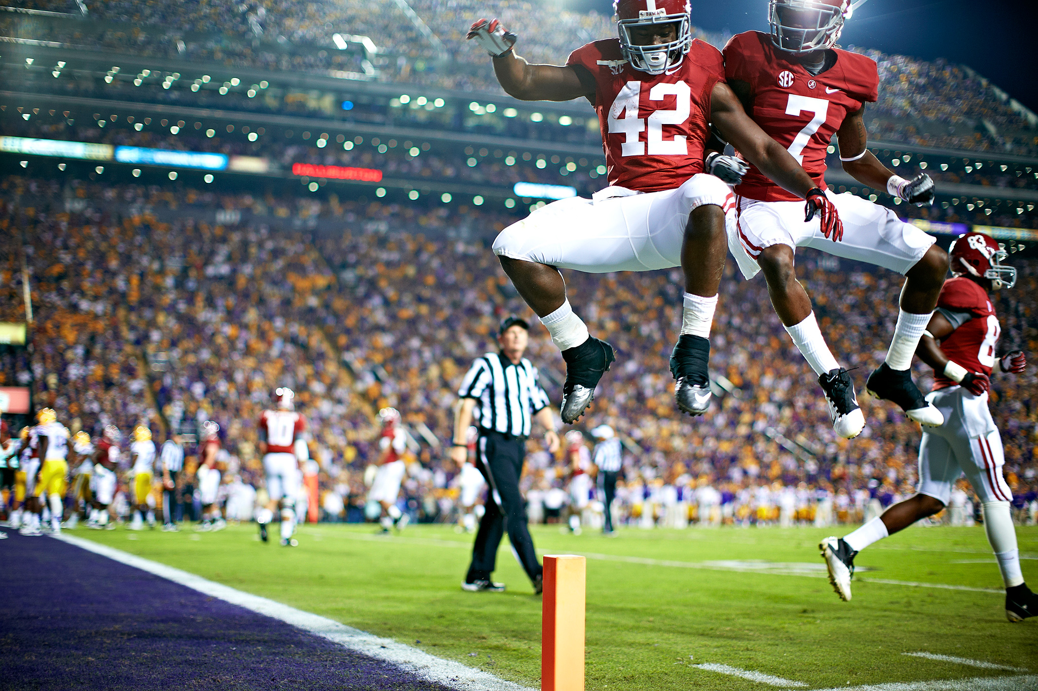 Two Alabama Players Celebrating in Death Valley photoshopbattles
