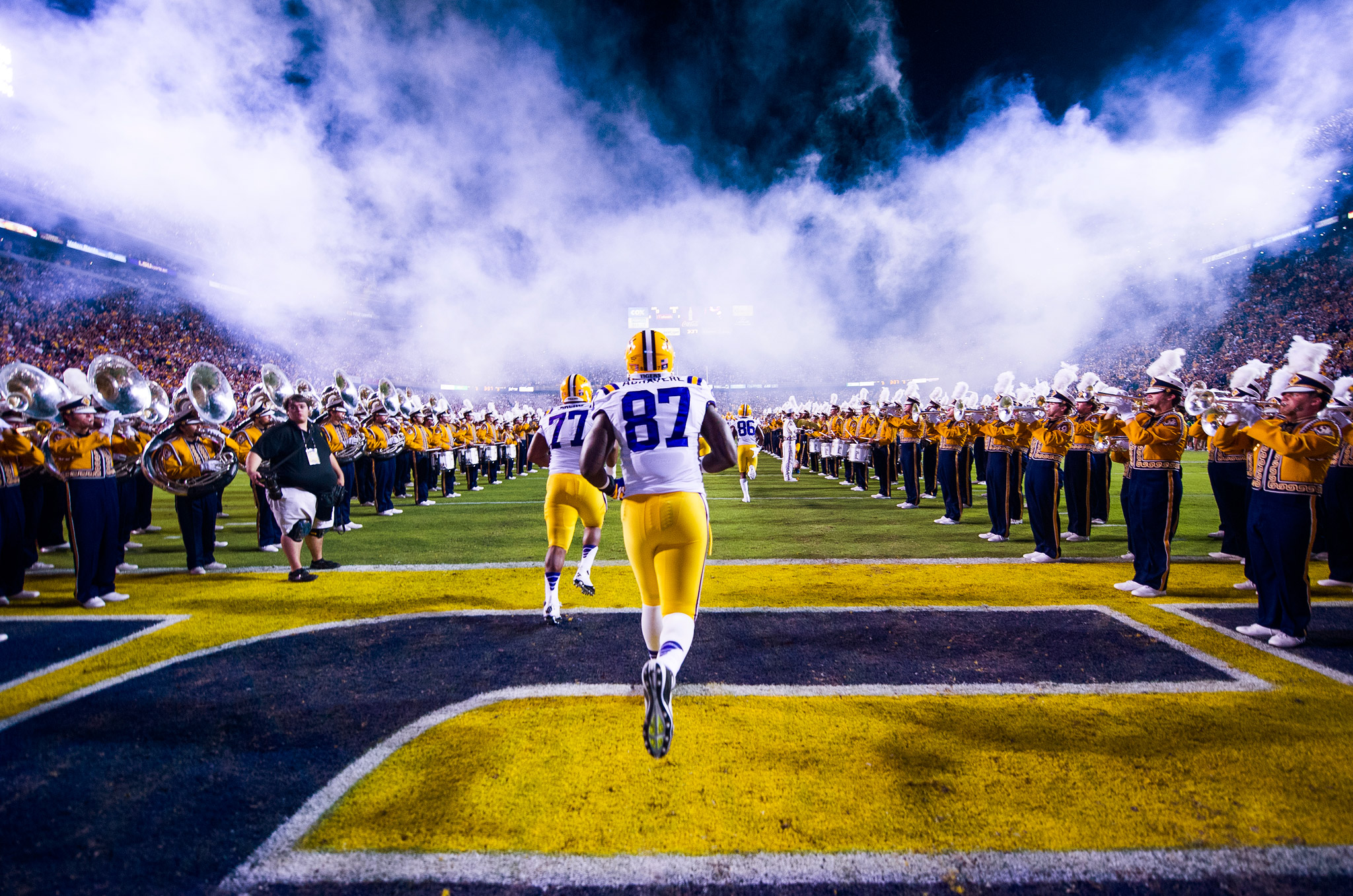 LSU players take the field
